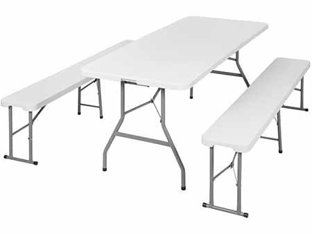 Conjunto bancos y mesa plegables