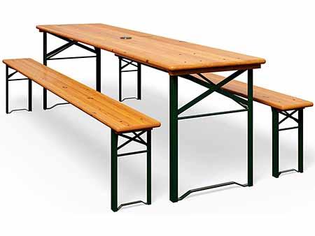 set de 1 mesa y 2 bancos de madera